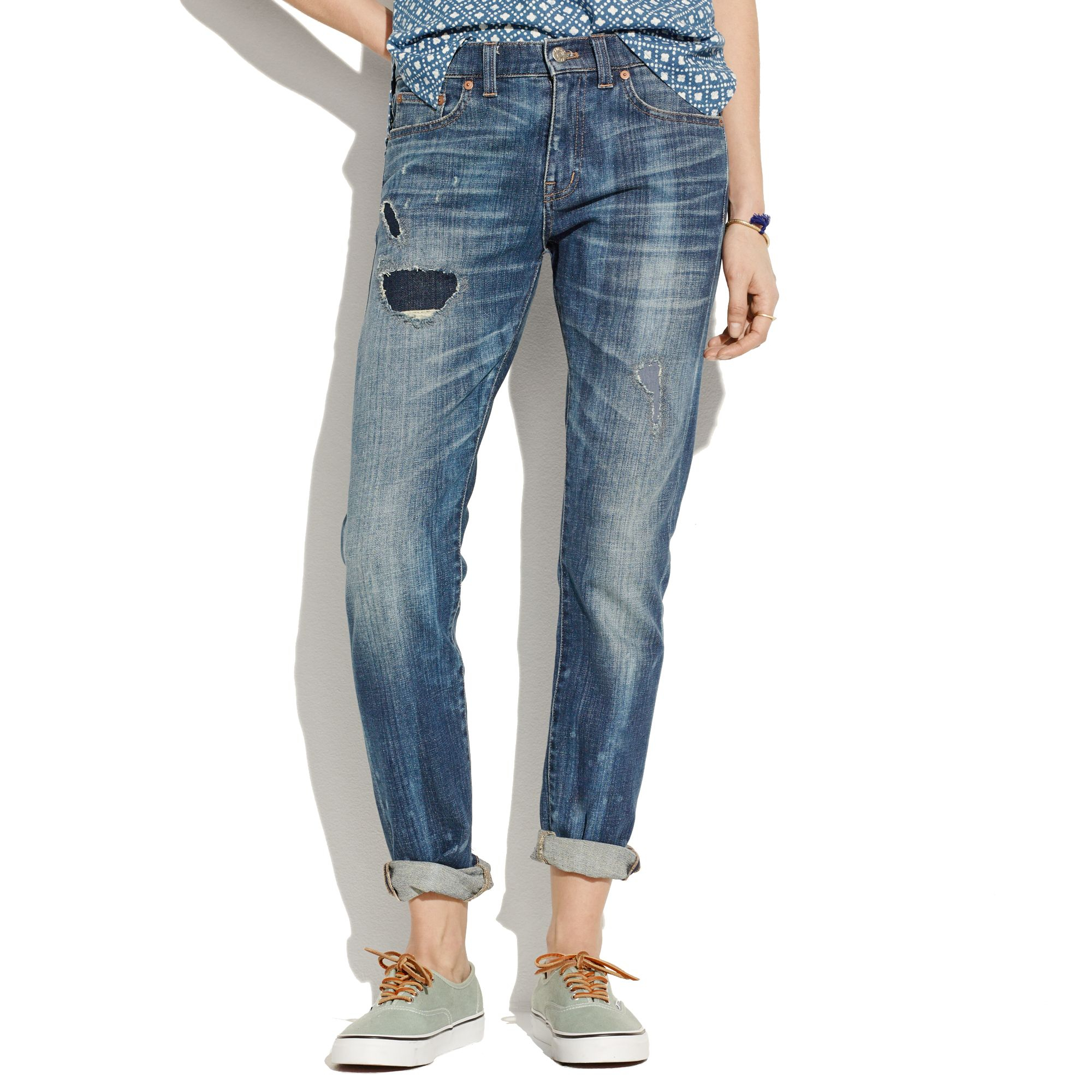 select for genuine high quality materials Discover Women's Blue The Slim Boyjean: Rip And Repair Edition