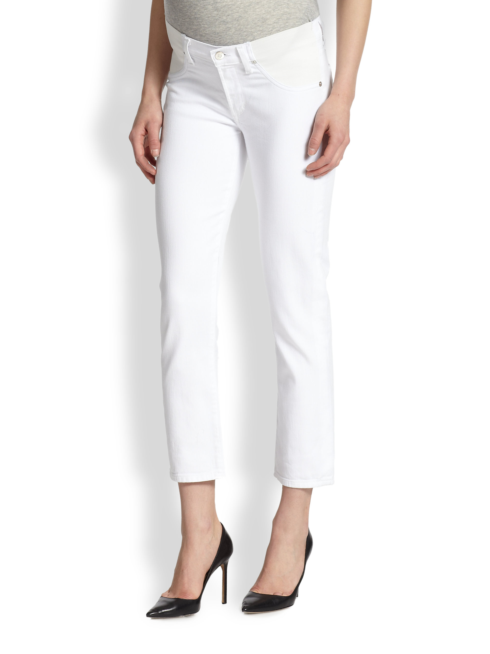 Citizens of humanity Phoebe Skinny Maternity Jeans in White | Lyst