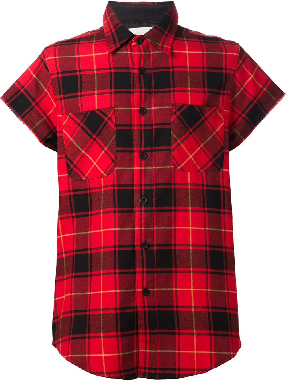 Fear of god short sleeve plaid shirt in red for men lyst Short sleeve plaid shirts