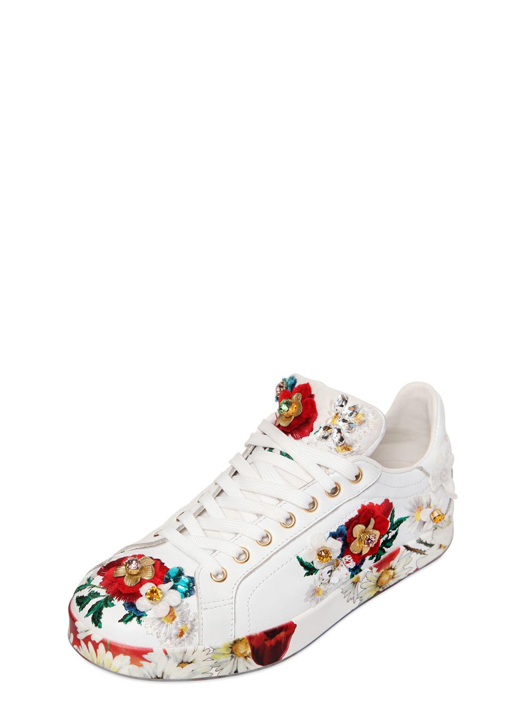 dolce gabbana 20mm floral embellished leather sneakers in white lyst. Black Bedroom Furniture Sets. Home Design Ideas