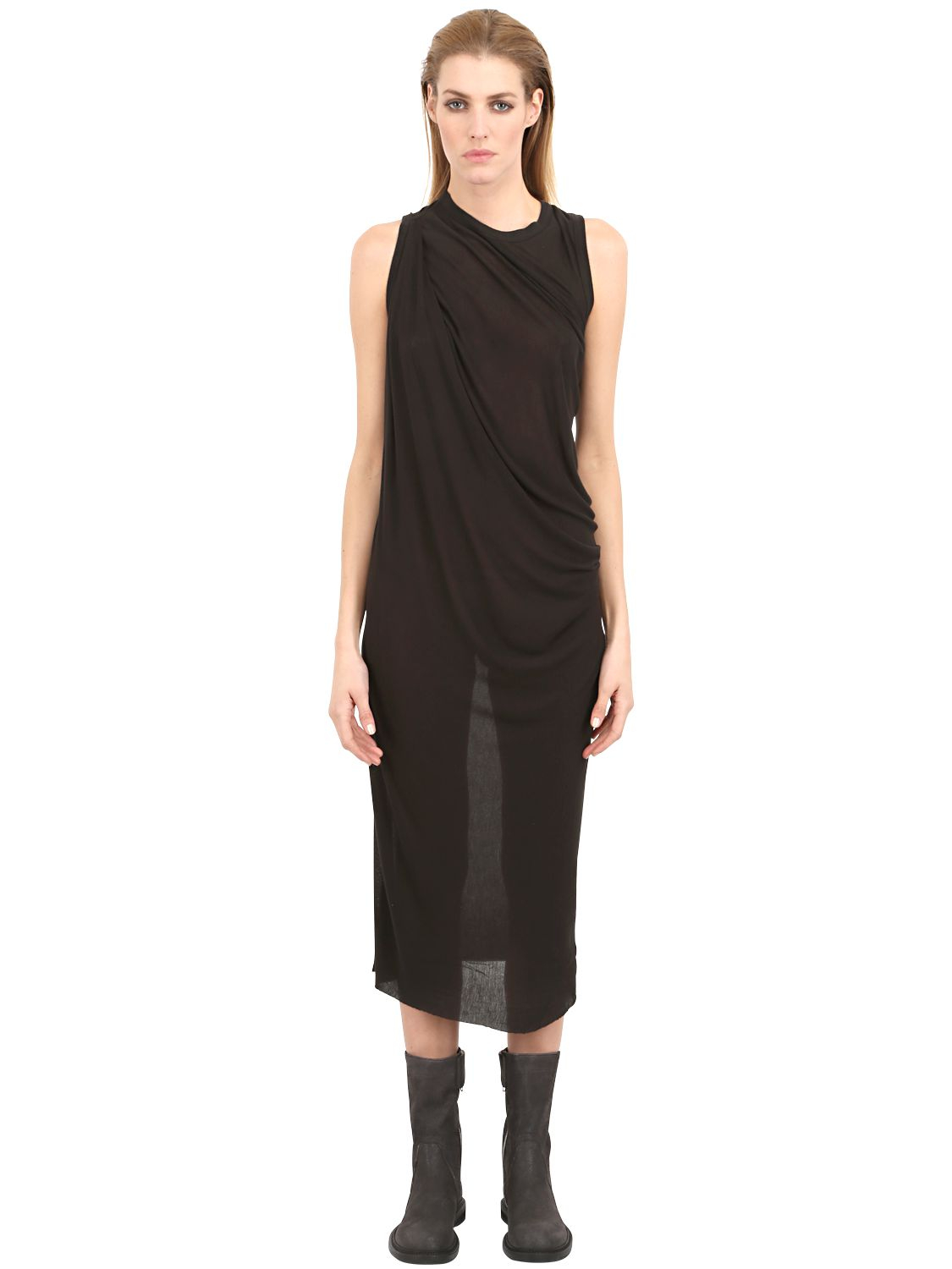 Rick owens Draped Bamboo Jersey Dress in Black | Lyst