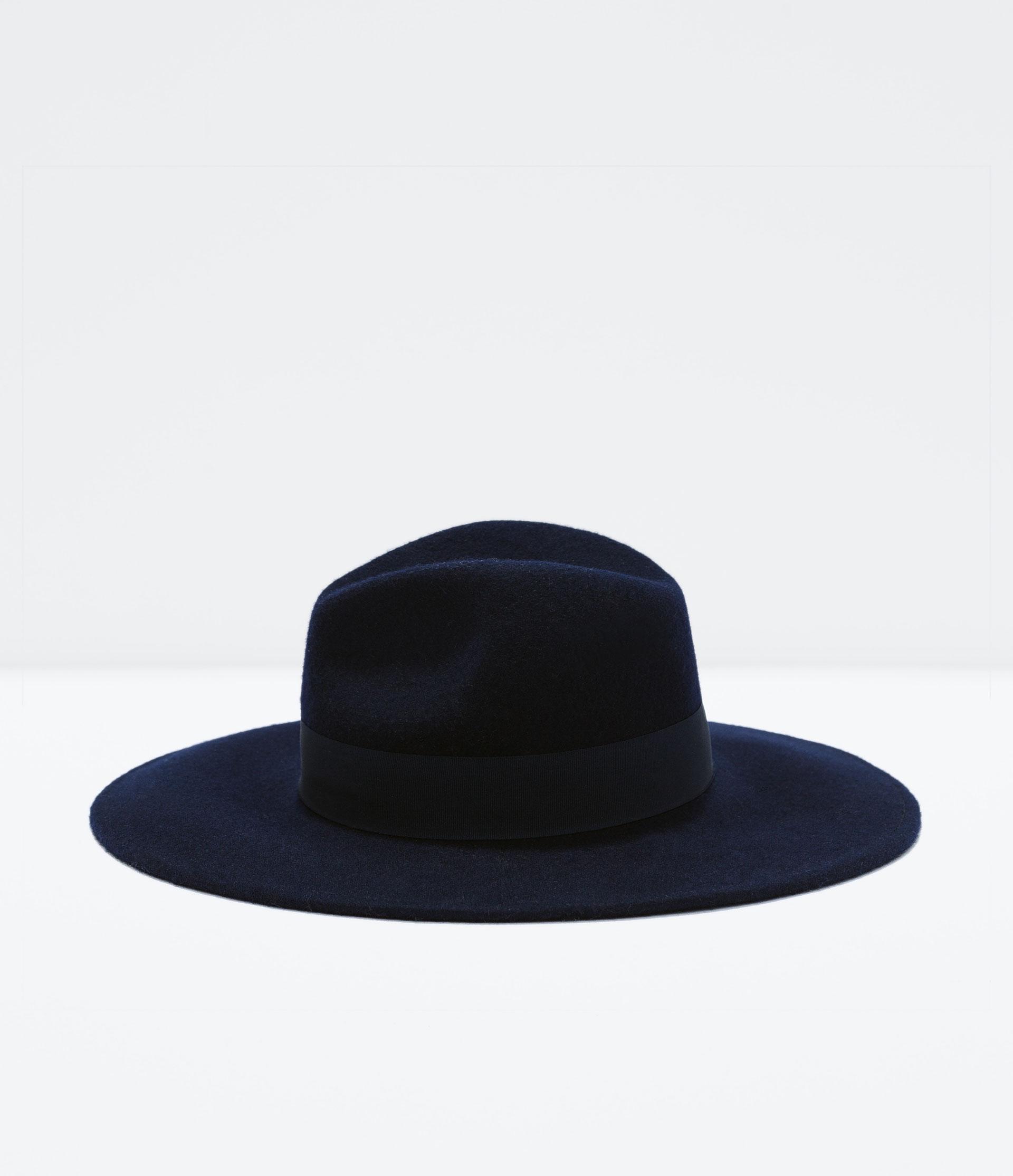 zara wide brim felt hat in blue lyst