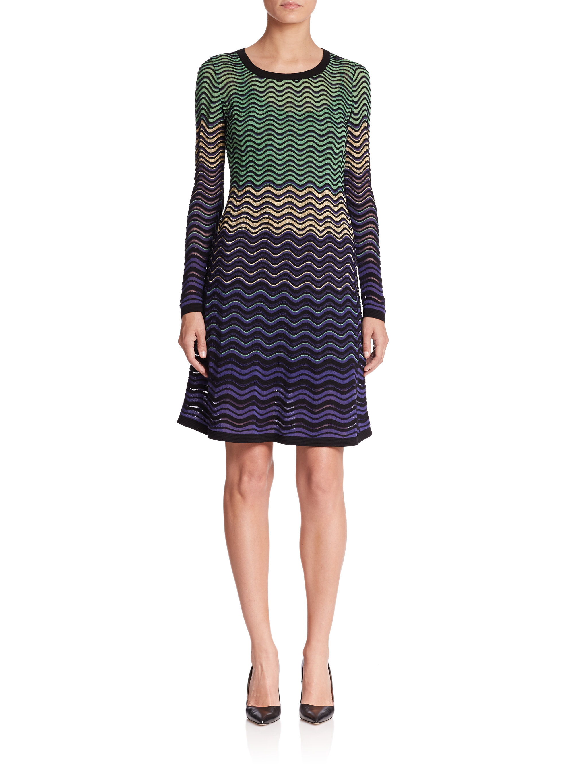 Violet Dress Knitting Pattern : M missoni Metallic Ripple-pattern Knit Dress in Purple (violet-multi) Lyst