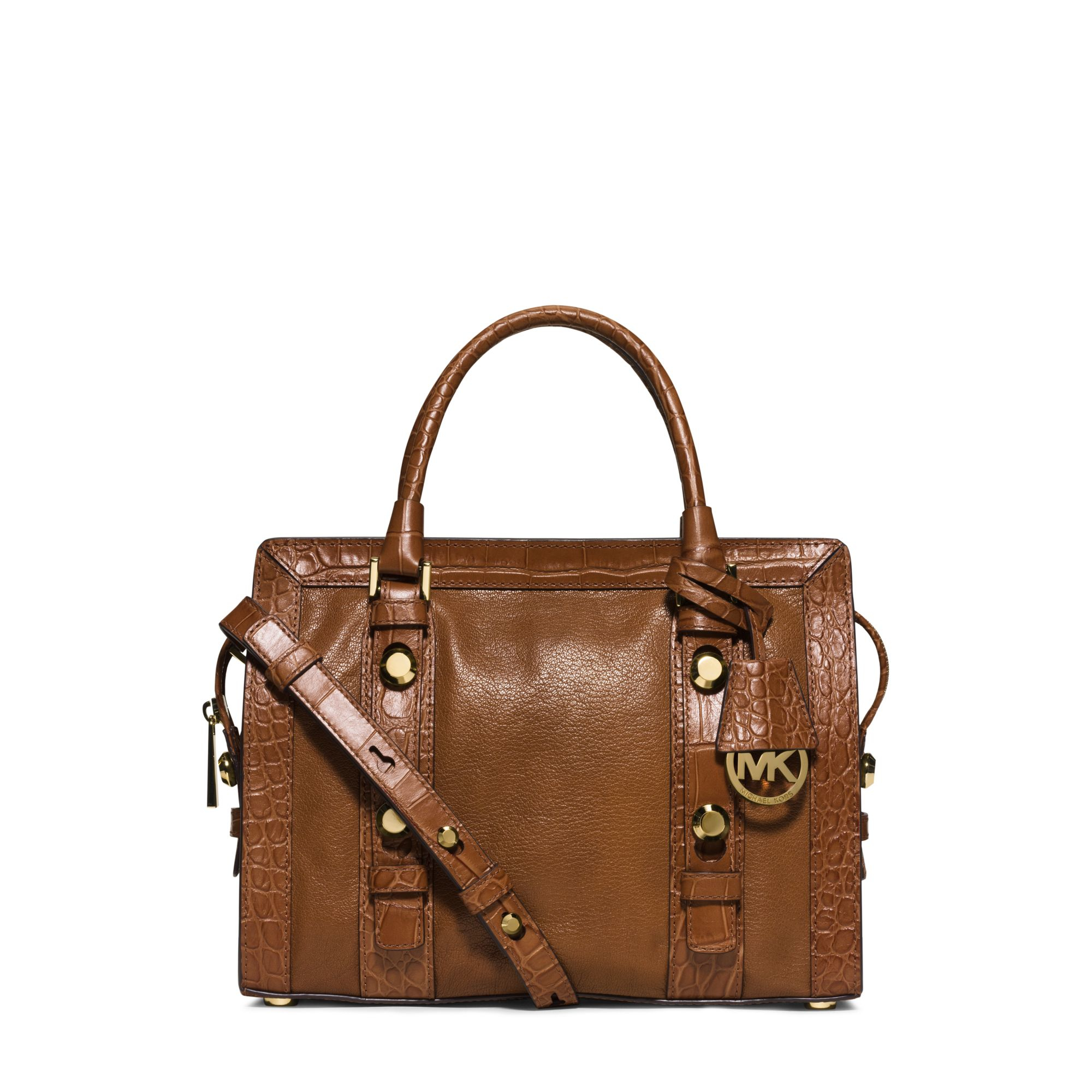 Key Fob App >> Michael kors Collins Stud Medium Leather Satchel in Brown | Lyst