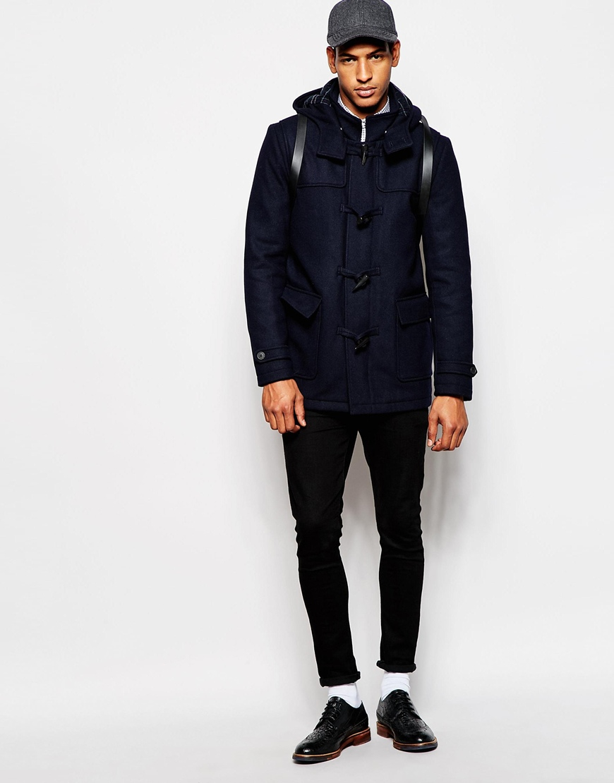 Selected Wool Duffle Coat With Check Lining in Blue for Men | Lyst