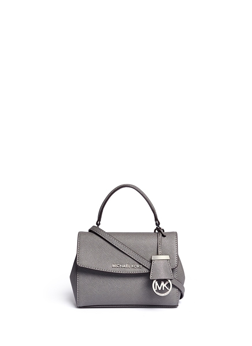 0726b1a8130d90 Michael Kors 'ava' Petite Saffiano Leather Crossbody Bag in Gray - Lyst