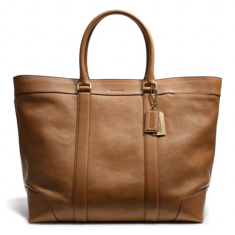 coach bleecker legacy weekend tote in leather in brown for men