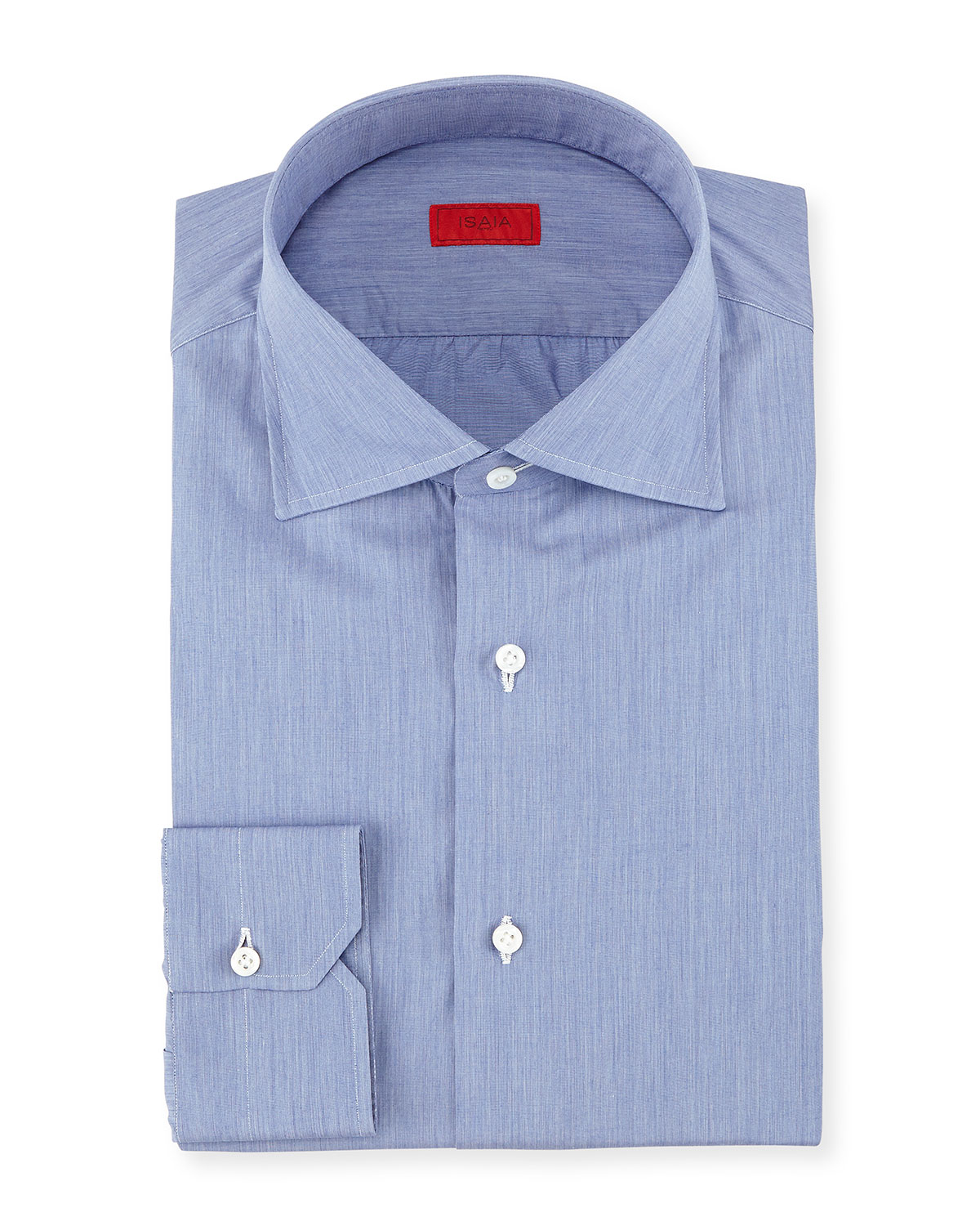 isaia solid chambray woven dress shirt in blue for men lyst