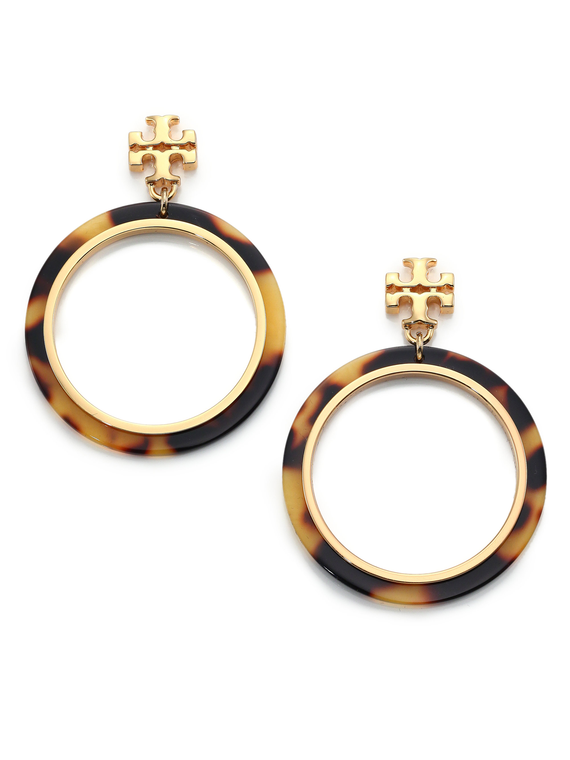 6f3e7053b Tory Burch Tortoise-Print Circular Drop Earrings in Metallic - Lyst