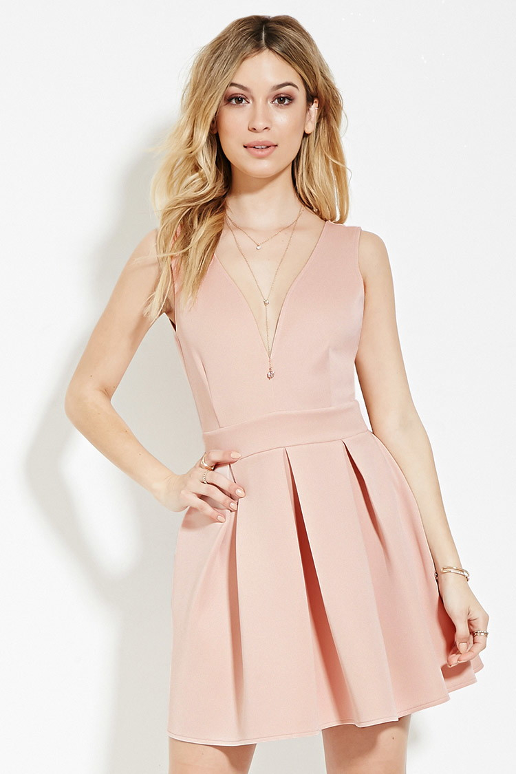 b5a6ea7d45 Lyst - Forever 21 Scuba Knit Fit   Flare Dress in Pink