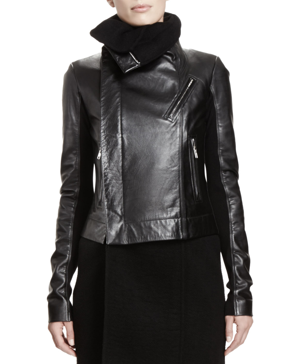 Lyst - Rick owens Leather Biker Jacket in Black