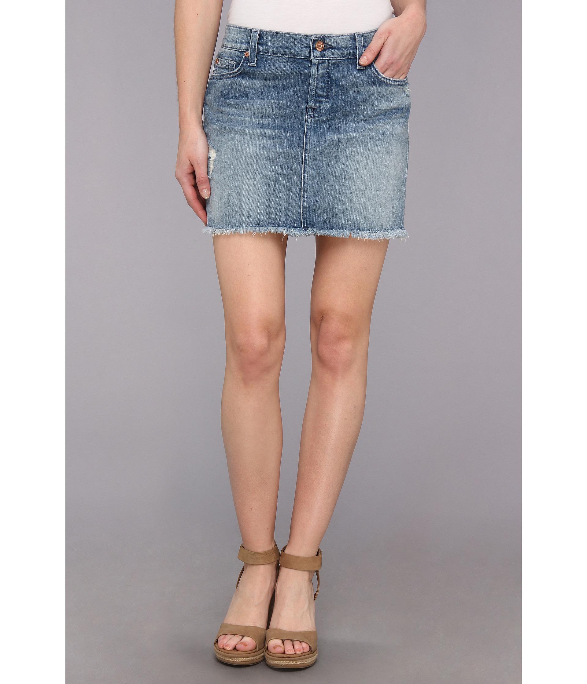 Lyst - 7 For All Mankind Josefina Mini Skirt W Raw Hem in Authentic  Oceanside in Blue