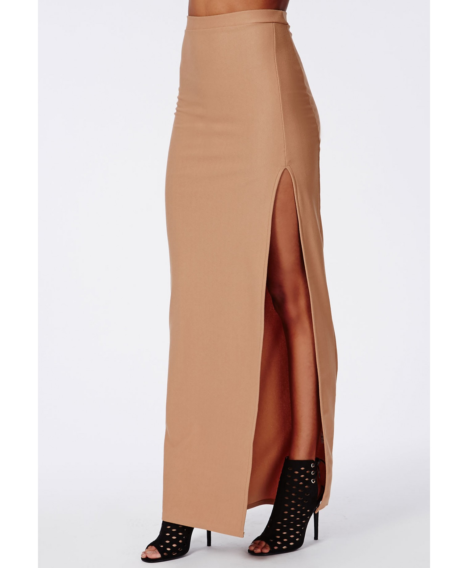 missguided thigh high split maxi skirt camel in beige