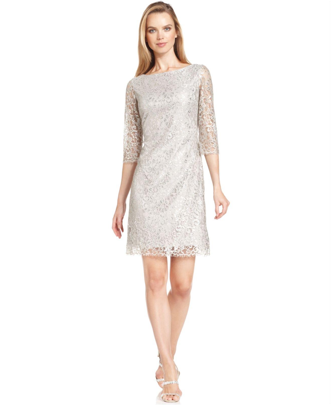 lyst calvin klein petite three quarter sleeve metallic lace dress in natural. Black Bedroom Furniture Sets. Home Design Ideas