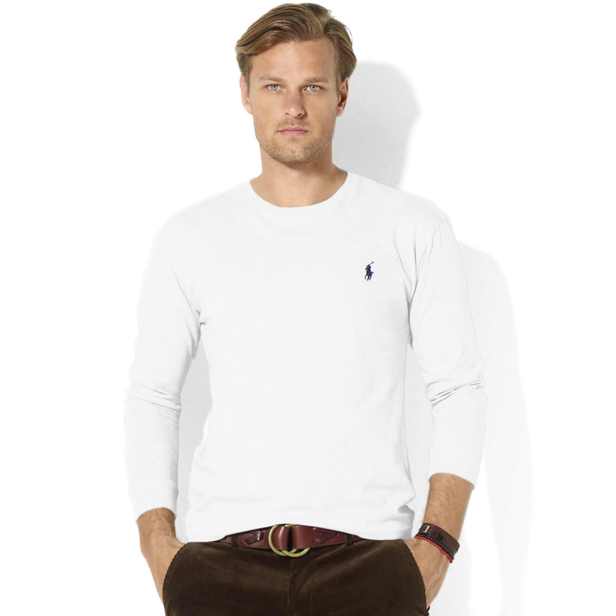 ralph lauren classic fit longsleeve cotton jersey pocket crew neck t shirt in white for men lyst. Black Bedroom Furniture Sets. Home Design Ideas