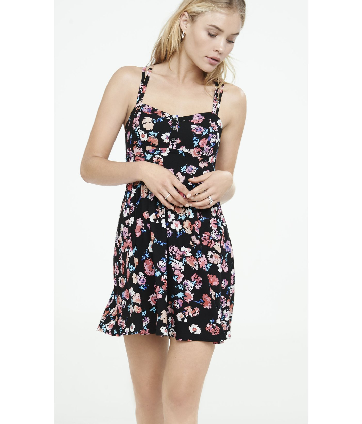 1d72cf5be5 Express Floral Print Strappy Cami Sundress in Black - Lyst