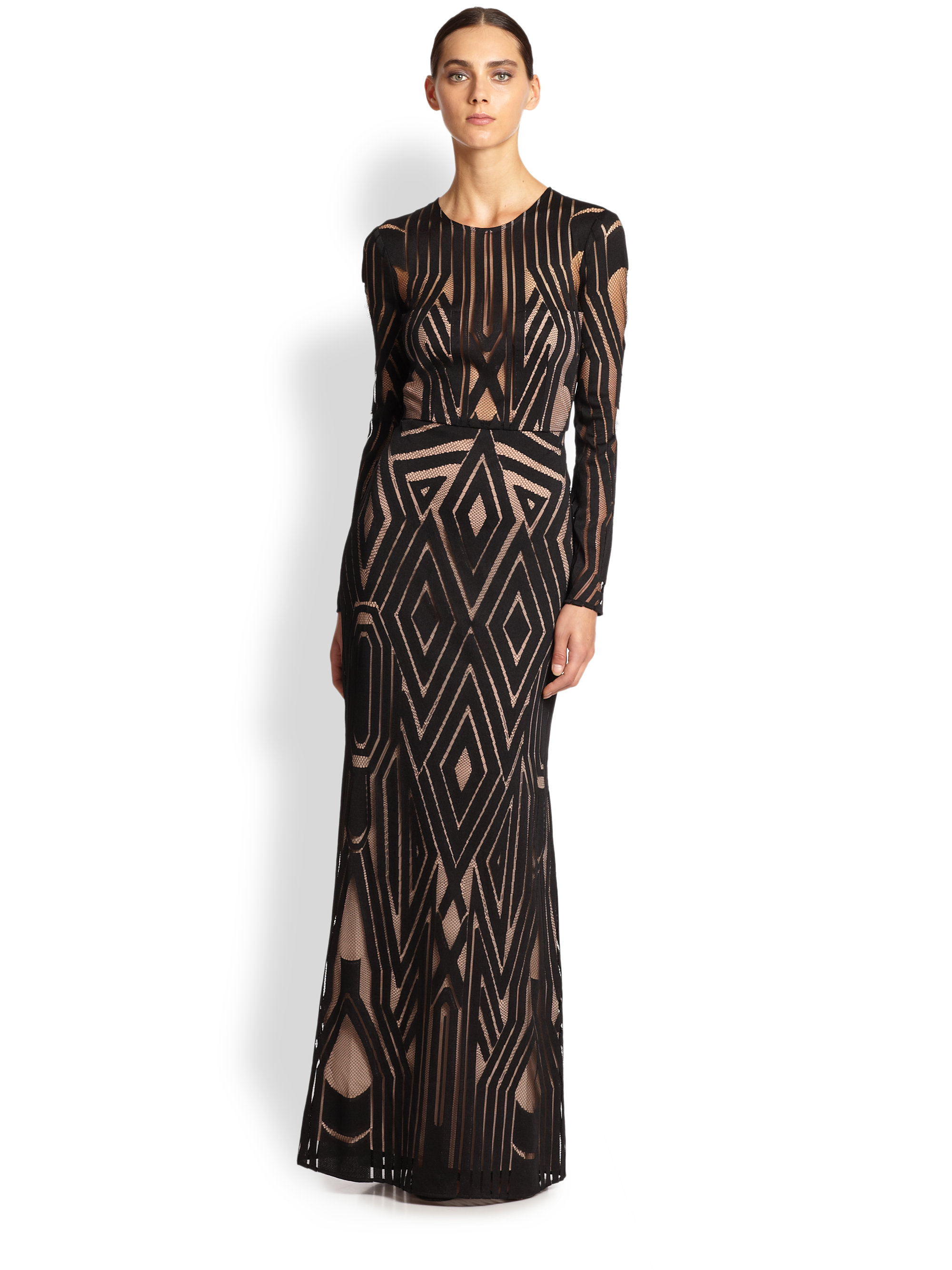 13727ce40a7d Lyst Bcbgmaxazria Viera Engineered Lace Gown In Black. Natyly Long Sleeve  ...