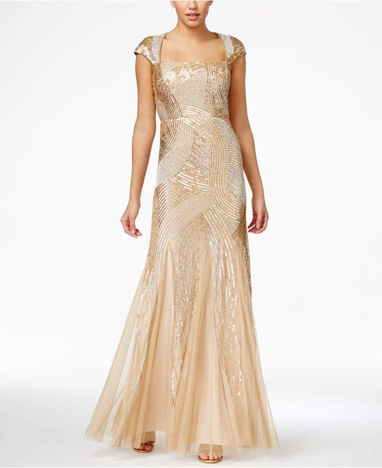 Adrianna papell Sequin Beaded Ball Gown in Metallic | Lyst