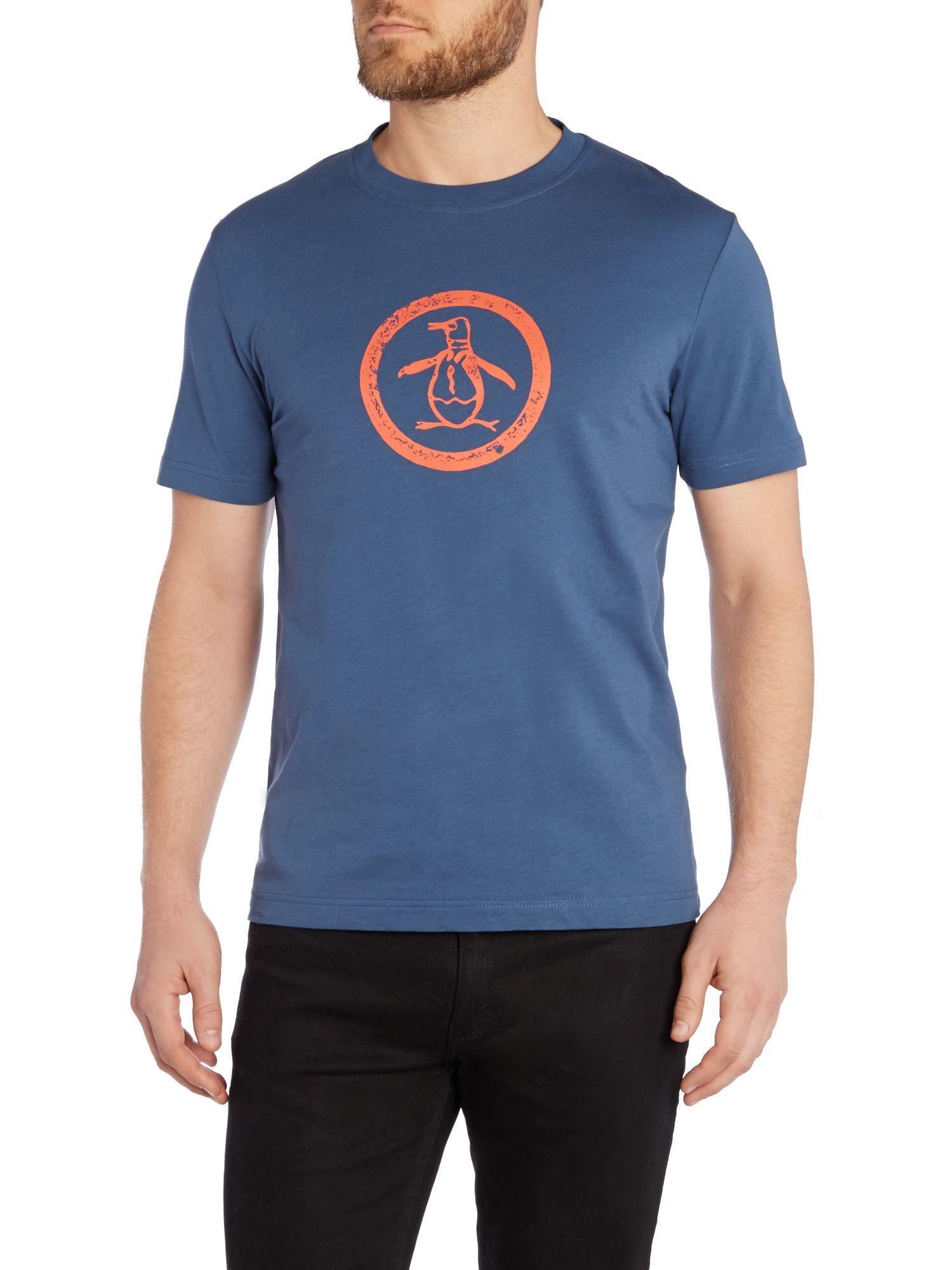 Lyst original penguin distressed logo print t shirt in for Logo print t shirt