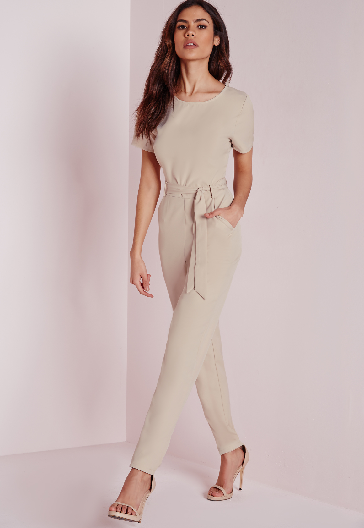 456e44297153 Lyst - Missguided Tie Front T-shirt Jumpsuit Nude in White