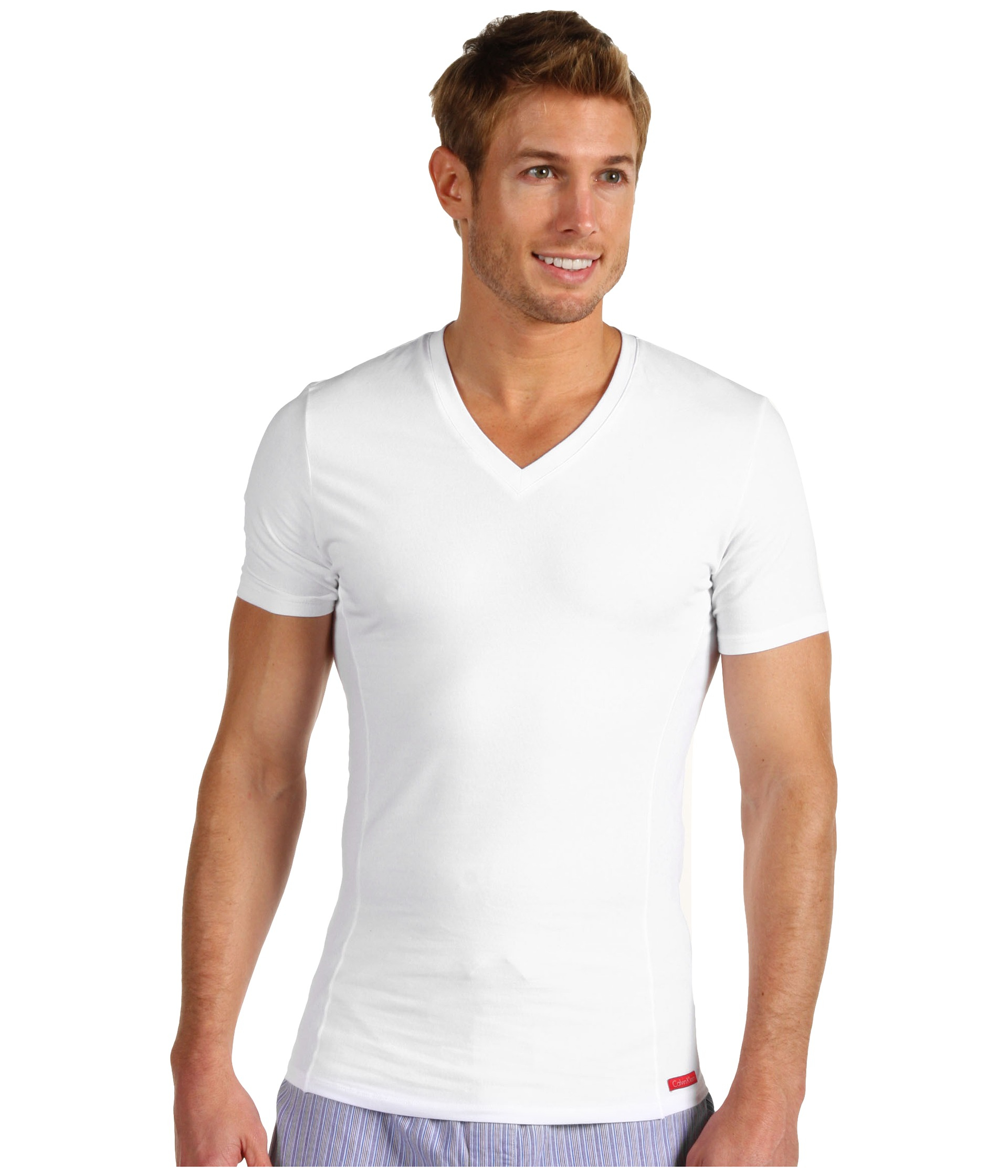 Calvin Klein Pro Stretch Slim Fit Vneck in White for Men | Lyst