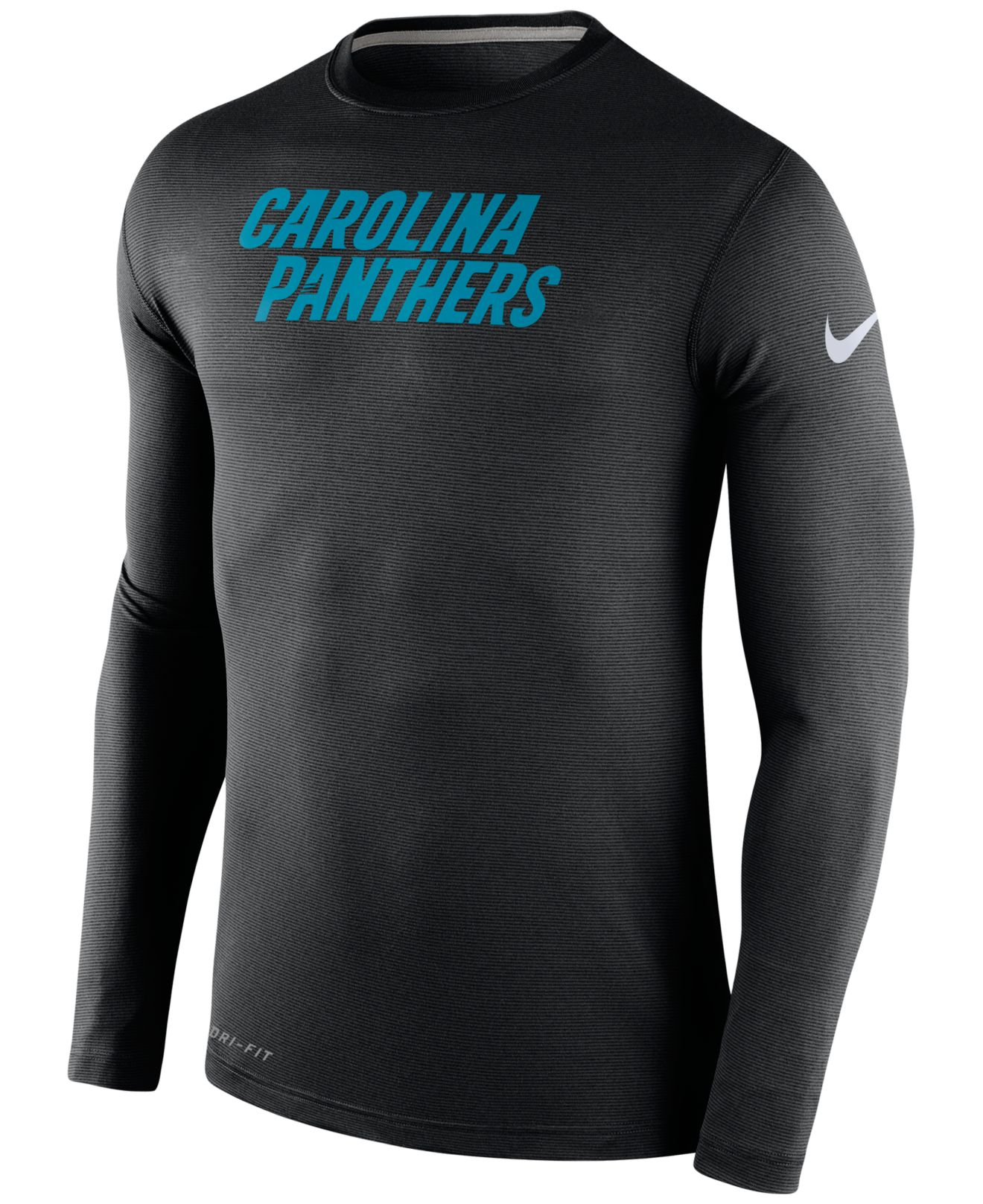 Nike men 39 s long sleeve carolina panthers dri fit touch t for Dri fit dress shirts