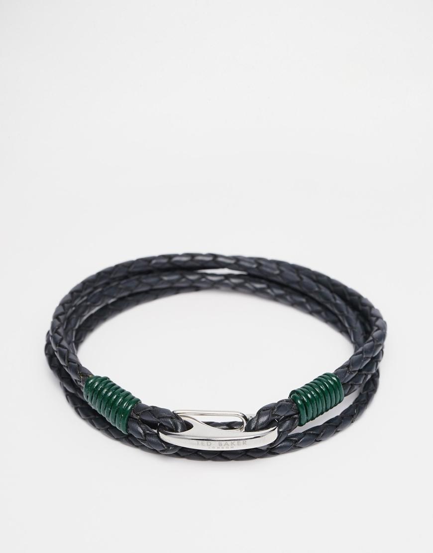3c02babb947d Lyst - Ted Baker Plaited Wrap Leather Bracelet in Metallic for Men