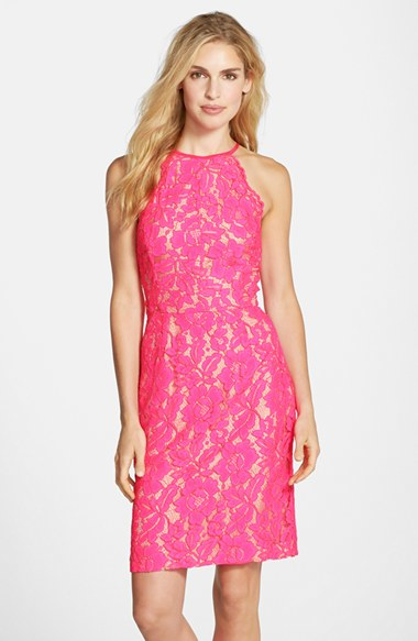 Trina turk 'Parry' Lace Sheath Dress in Pink | Lyst