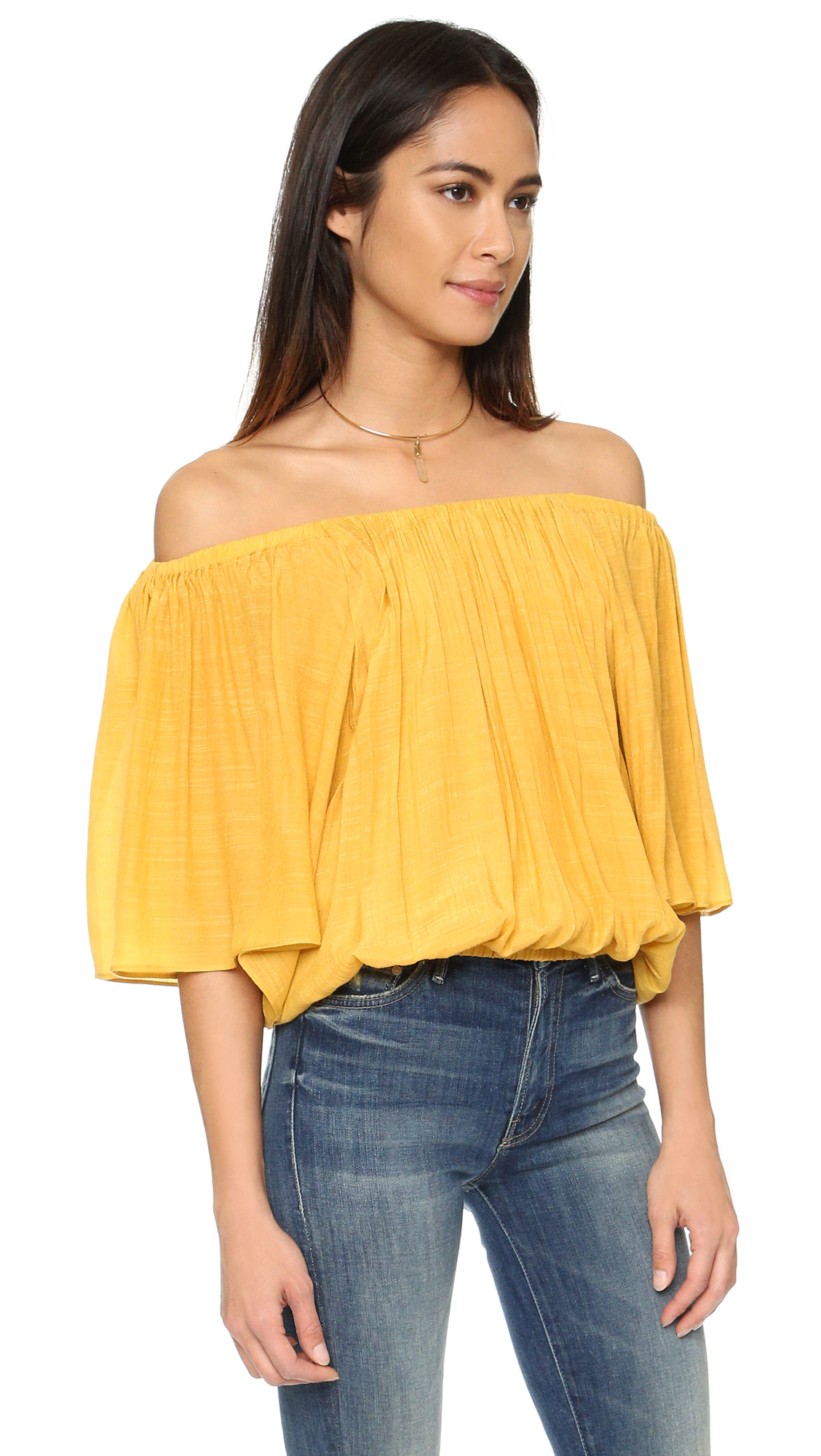 United Luggage Size Lyst T Bags Off Shoulder Blouse Mustard In Yellow