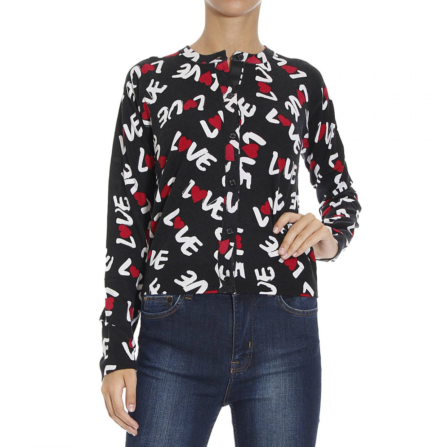 love moschino love pattern sweater in red save 73 lyst. Black Bedroom Furniture Sets. Home Design Ideas