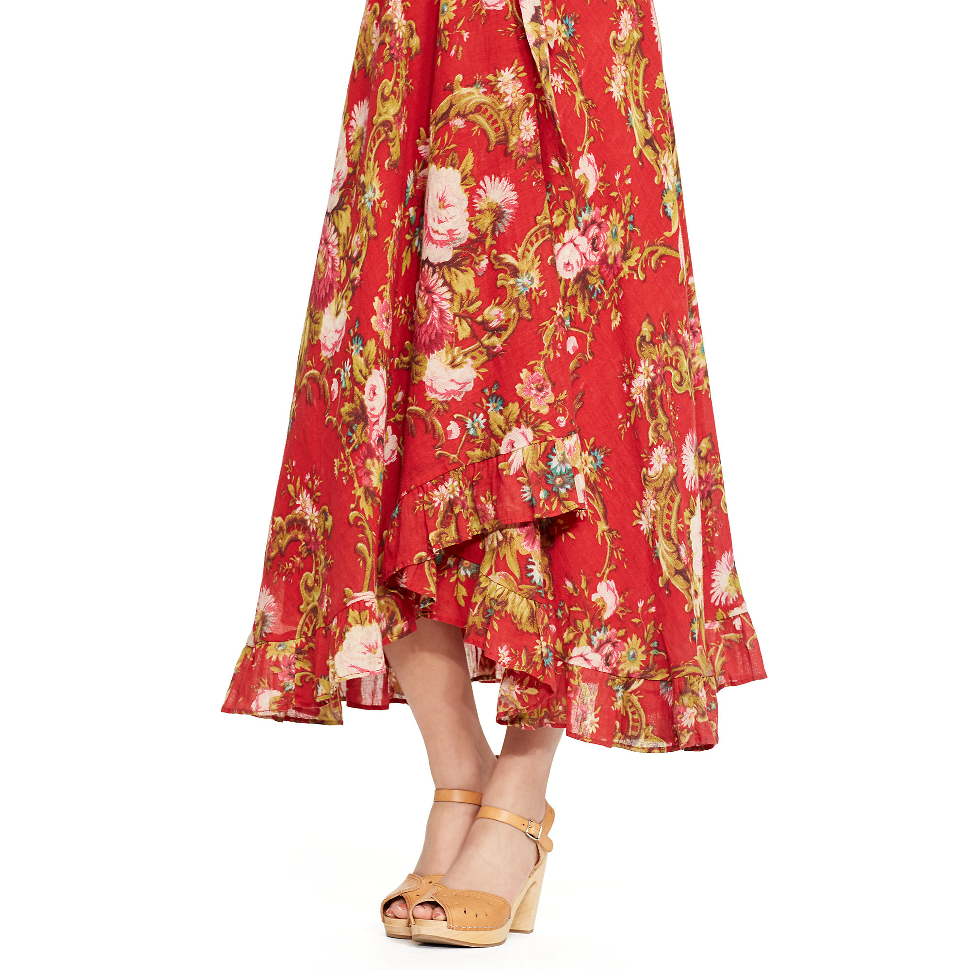 Denim Amp Supply Ralph Lauren Floral Wrap Dress In Red Lyst