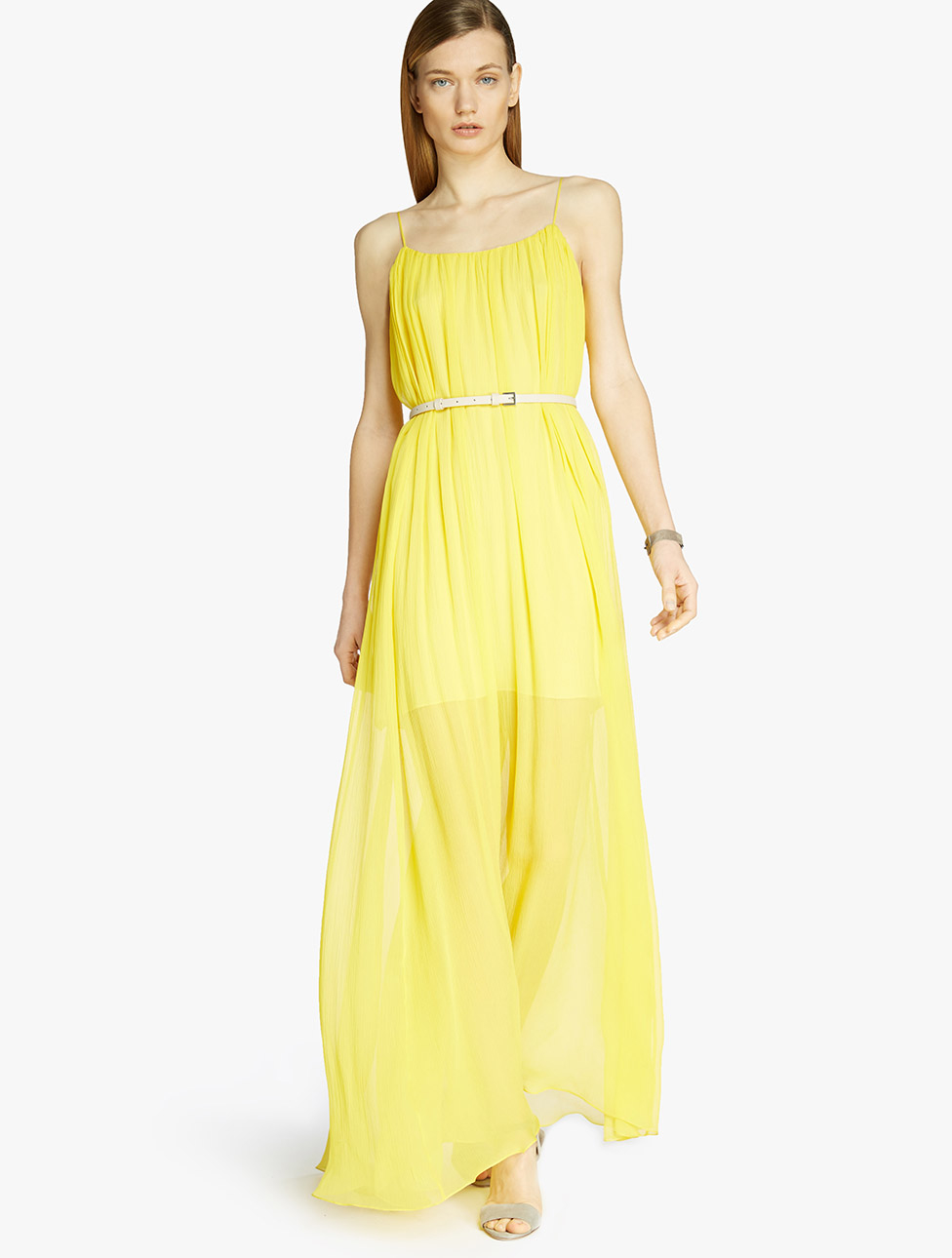 Lemon Yellow Chiffon Dress
