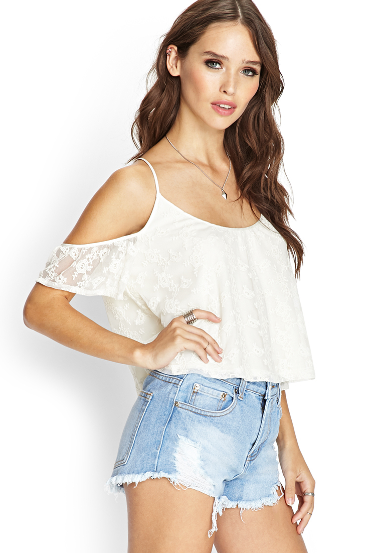 ecb2d0b0a91be0 Forever 21 White Blouse Off Shoulder