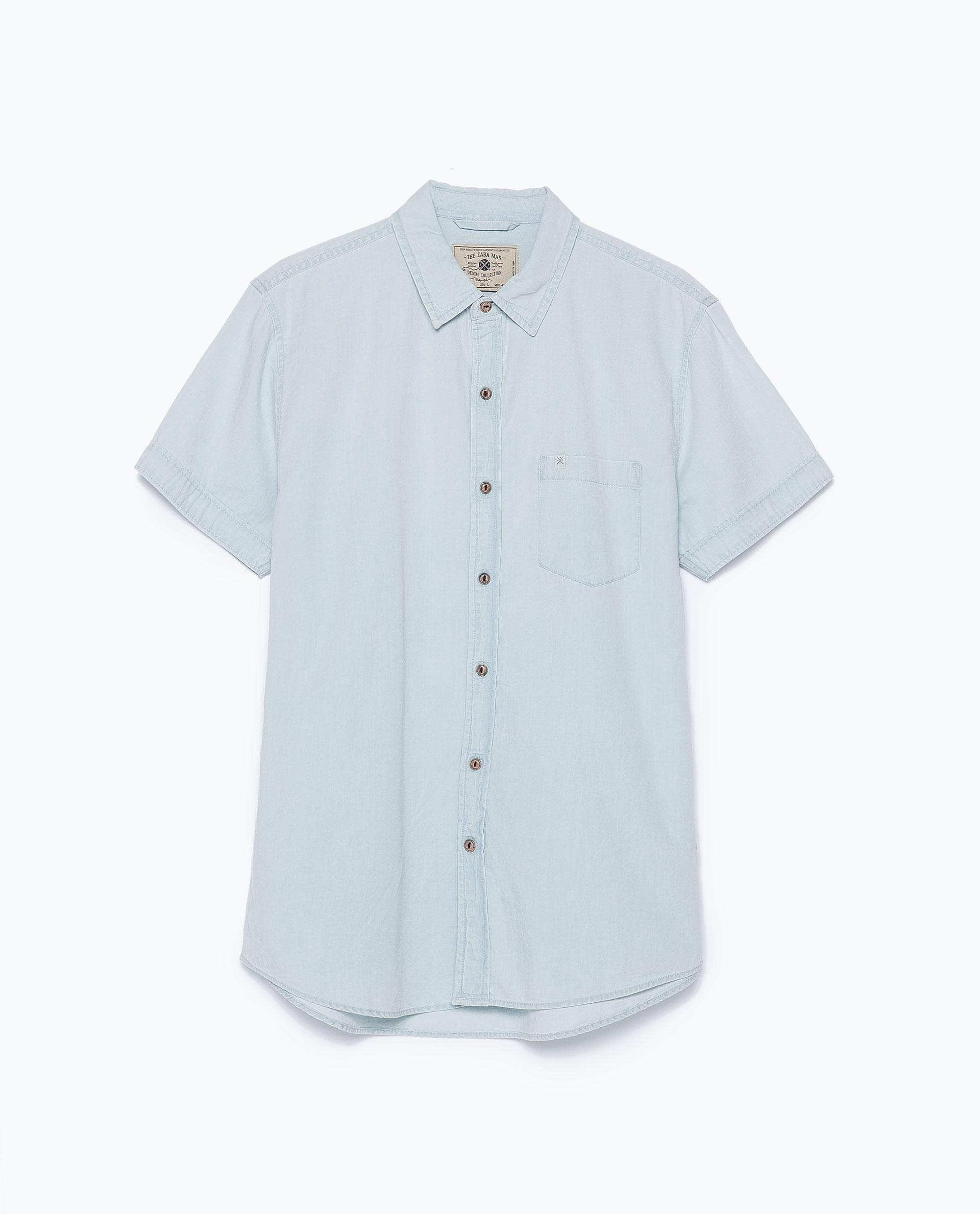 Zara Short Sleeve Denim Shirt In Blue For Men Light