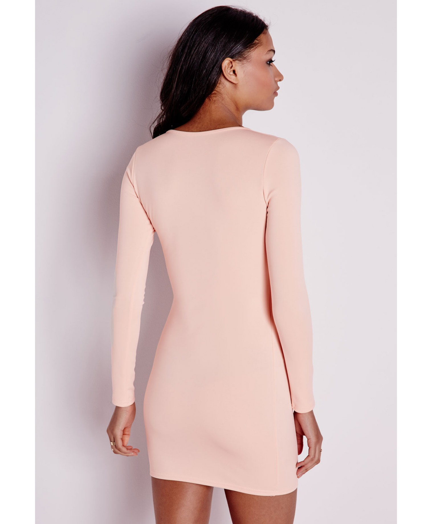43845c0ea7 Lyst - Missguided Long Sleeve Wrap Bodycon Dress Nude in Pink