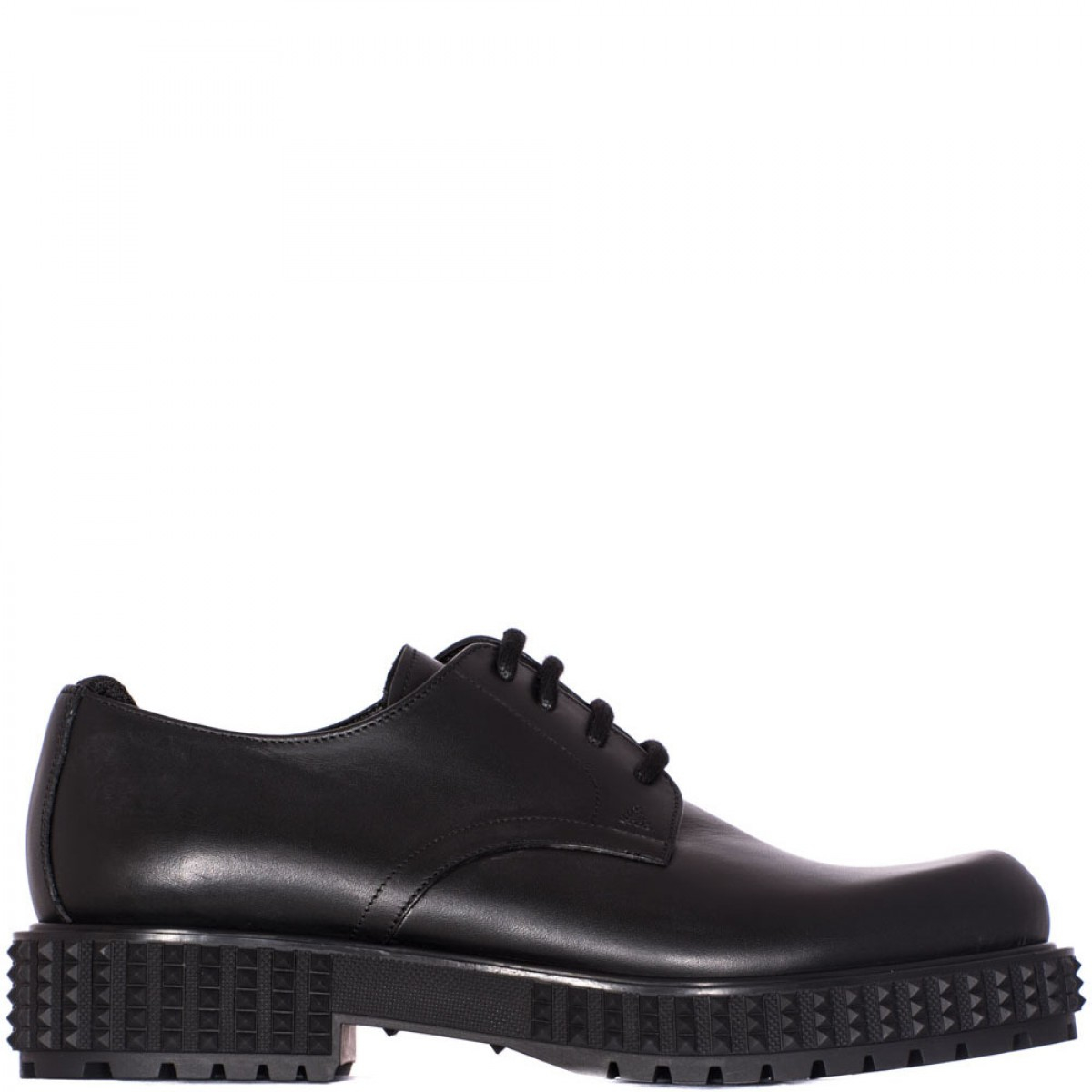 valentino black leather derby shoe in black for lyst