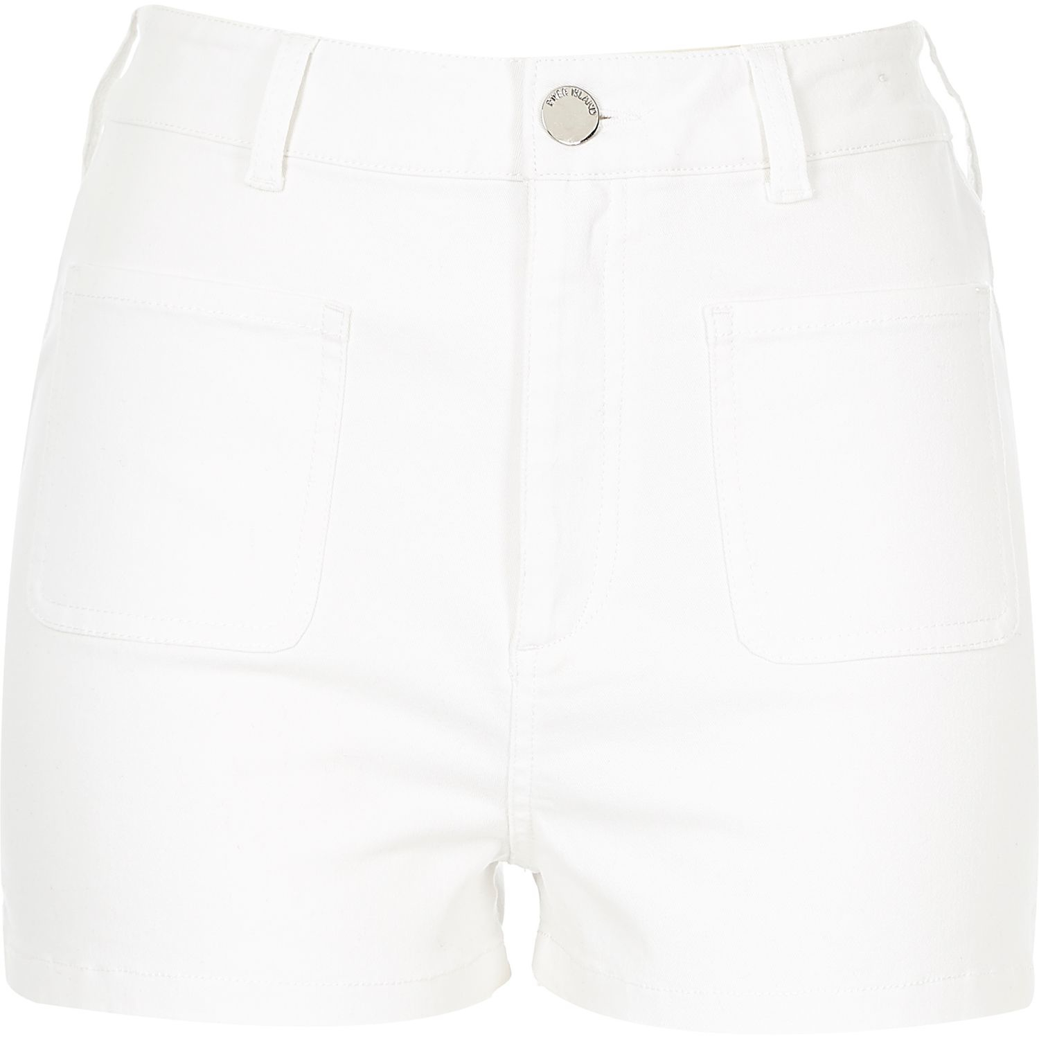 River island White High Waisted Shorts in White | Lyst
