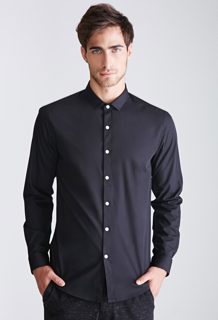 Lyst forever 21 contrast button collared shirt you 39 ve for Three button collar shirts
