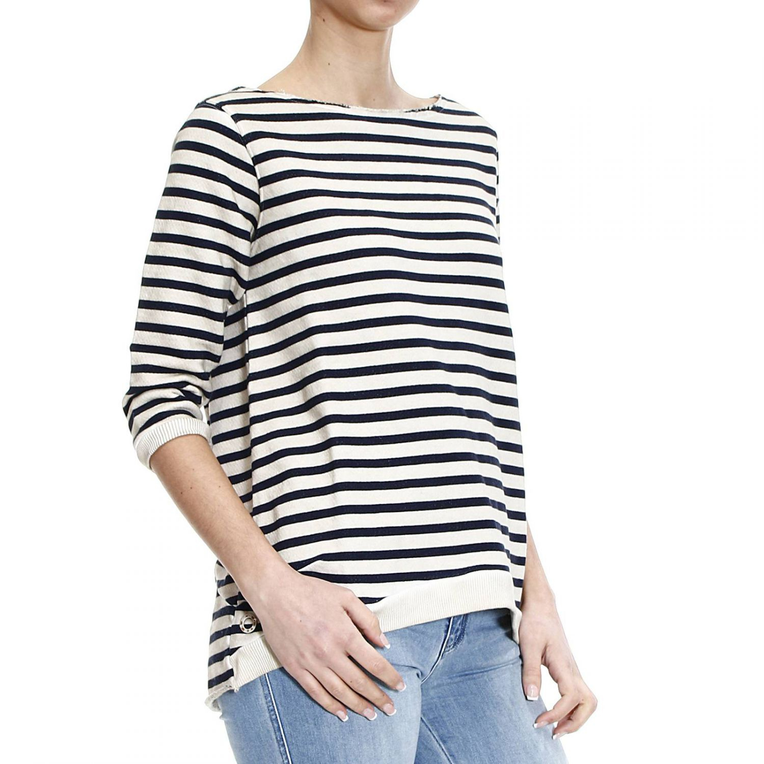 Lyst manila grace sweater striped sweatshirt with zip for Thrilla in manila shirt under armour