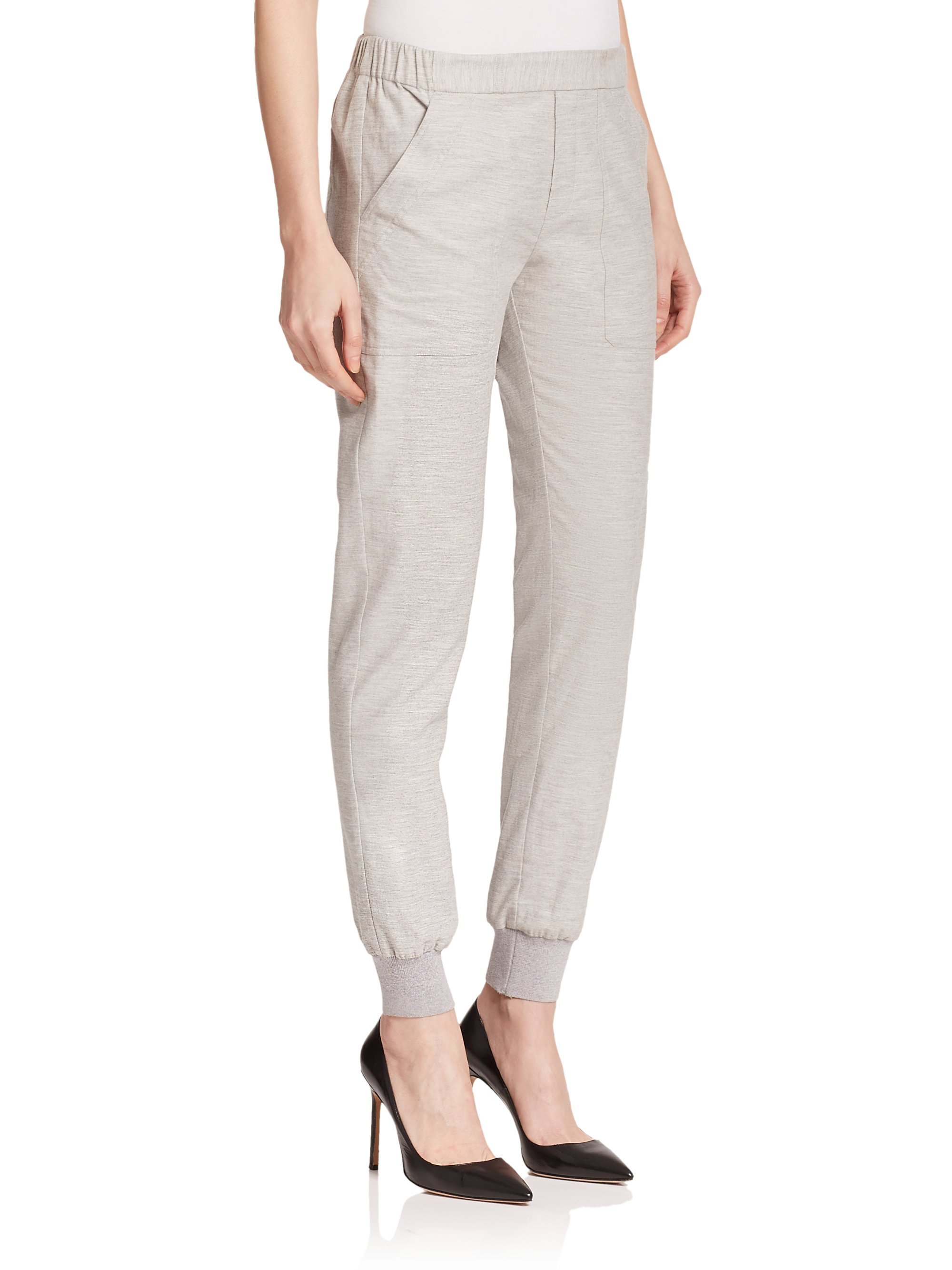 Original Felina Solid Quilted Waist Jogger Pants In Gray  Lyst