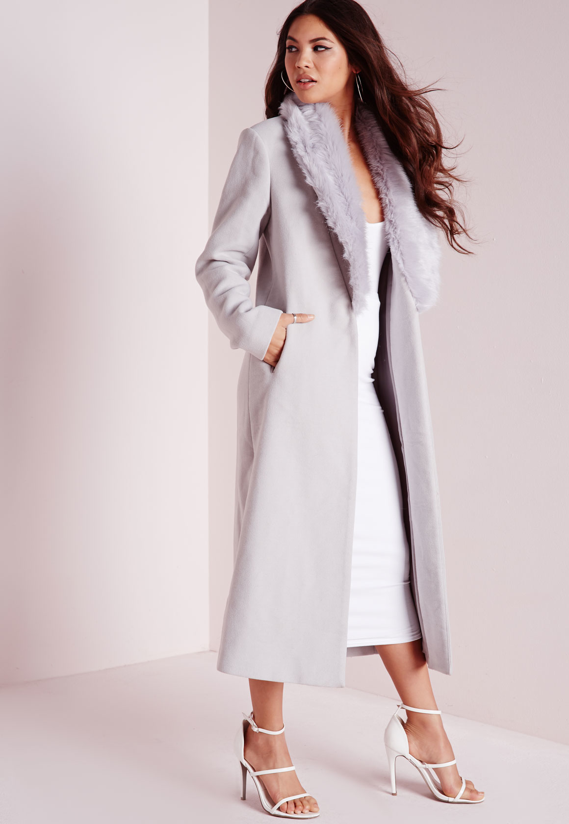 Missguided Longline Faux Wool Coat With Faux Fur Collar