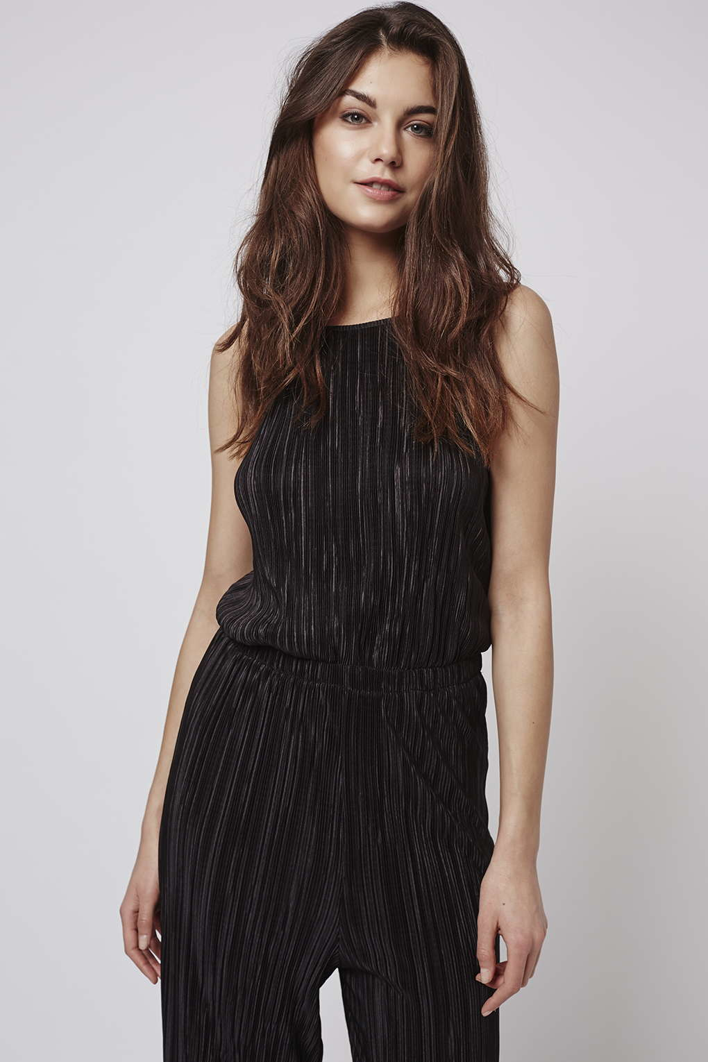 2384c8f4742 Lyst - TOPSHOP Tall Pleated High Neck Jumpsuit in Black