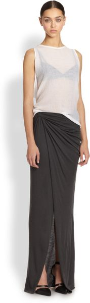 helmut lang lush asymmetrical draped twisted maxi skirt in