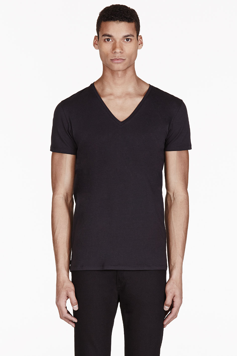 Diesel black v neck umtee jesse t shirt in black for men V neck black t shirt