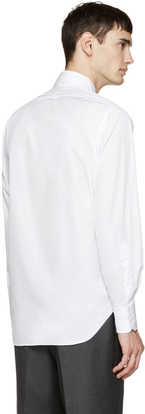 Thom browne white poplin shirt in white for men lyst for Thom browne white shirt