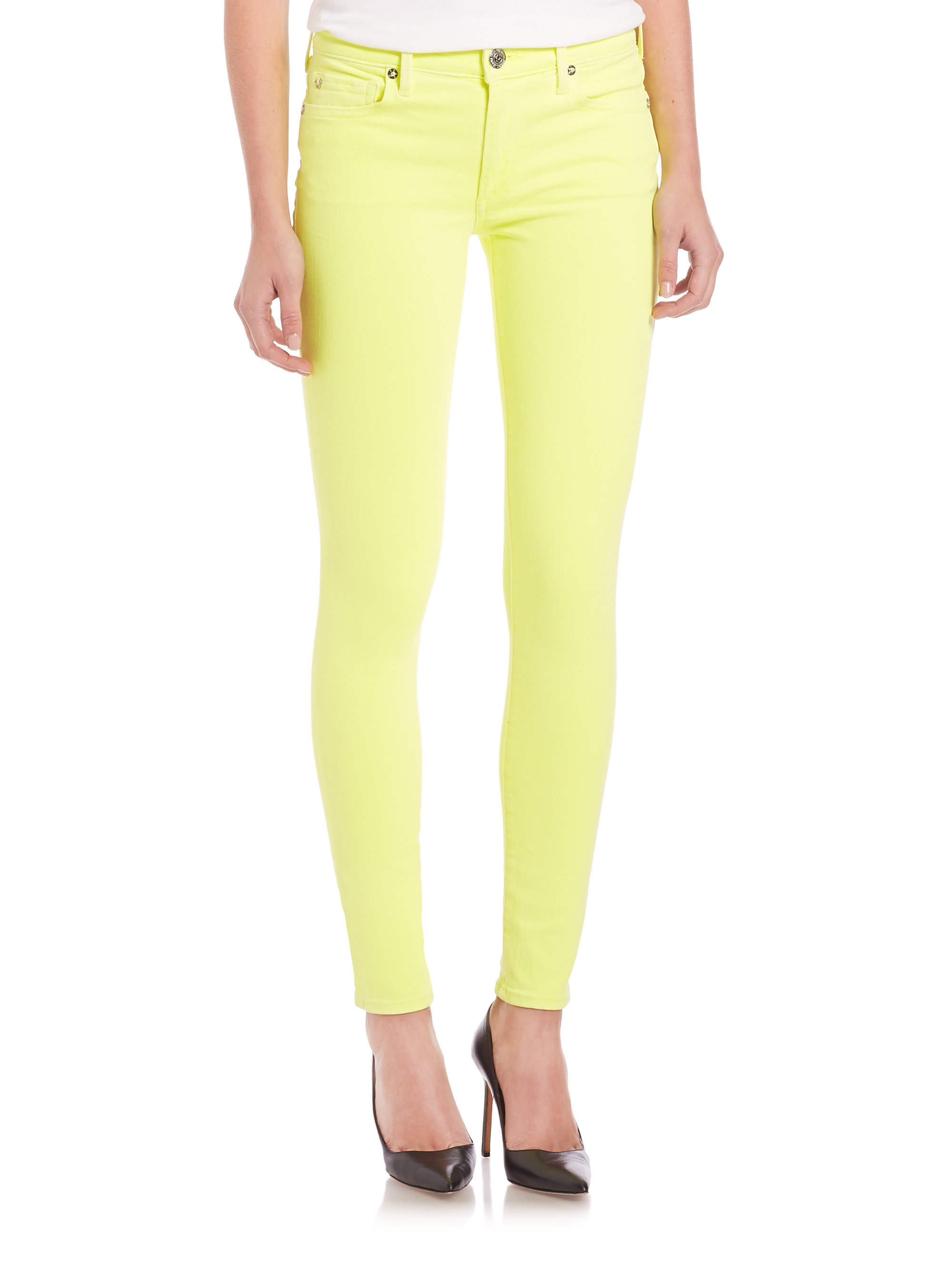 Lyst True Religion Halle Neon Mid Rise Skinny Jeans In