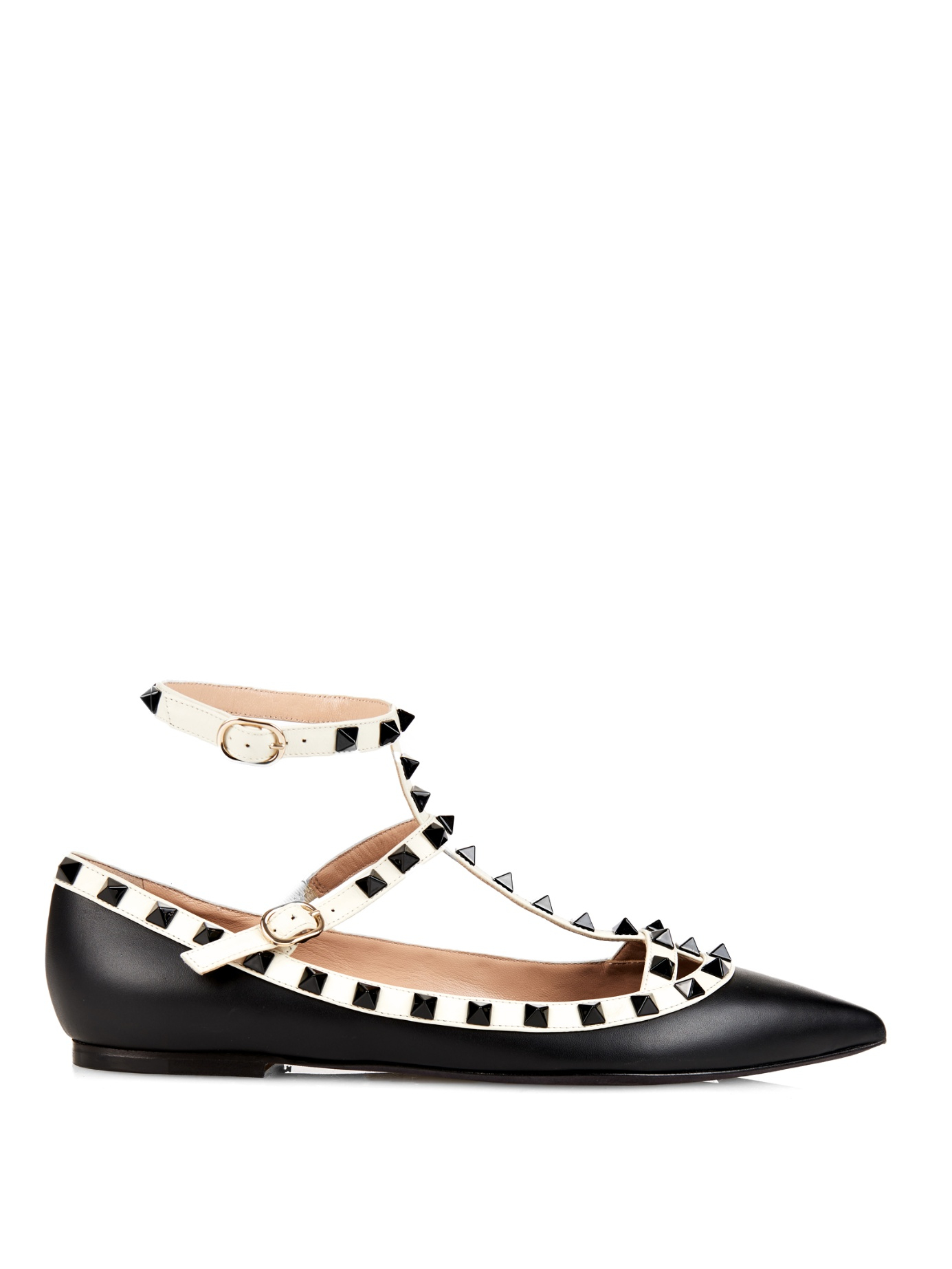 valentino rockstud pointed toe leather flats in black lyst