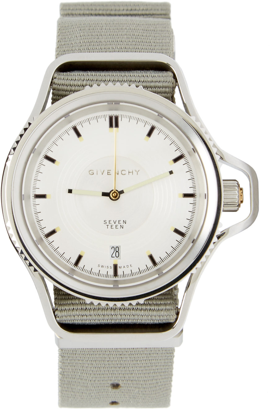 Givenchy grey and silver seventeen watch in gray grey lyst for Givenchy watches