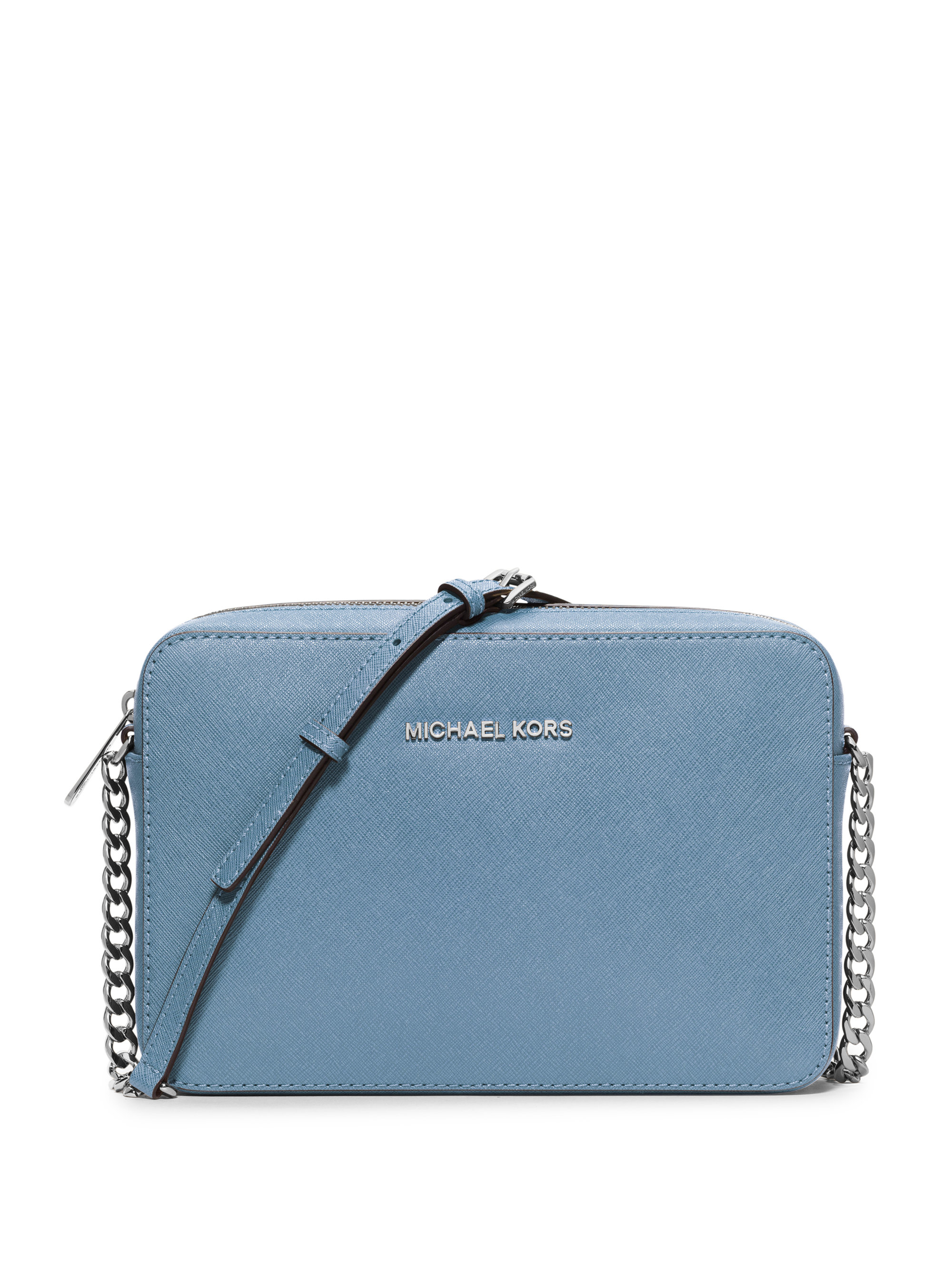 3062d1780834 Michael Kors Jet Set Travel Large Leather Cross-Body Bag in Blue - Lyst