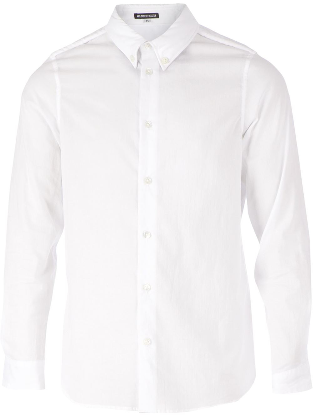 ann demeulemeester button down collar shirt in white for